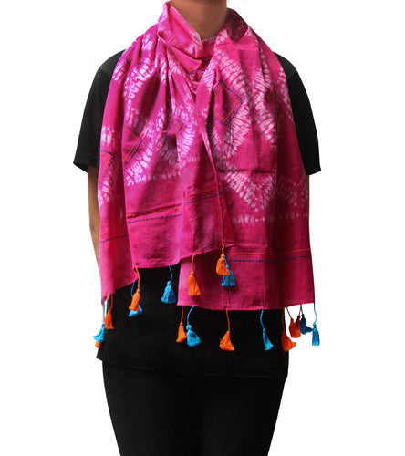 Pink Malmal Tie Dyed & Embroidered Scarf