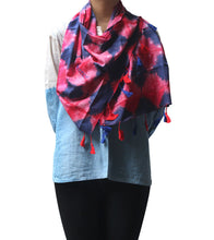 Blue & Pink Malmal Tie Dyed & Embroidered Scarf
