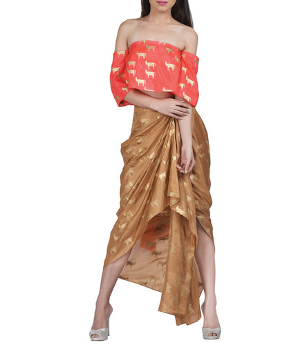 Red & Beige Silk Printed Top & Skirt Set