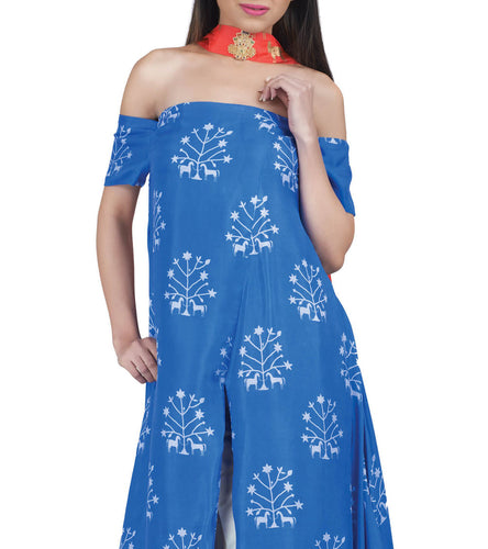 Blue Silk Printed & Embroidered Tree Off Shoulder Kurti With Pants & Dupatta