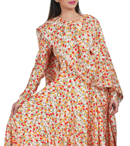 Peach Silk Printed & Embroidered Dense Floral Anarkali Set