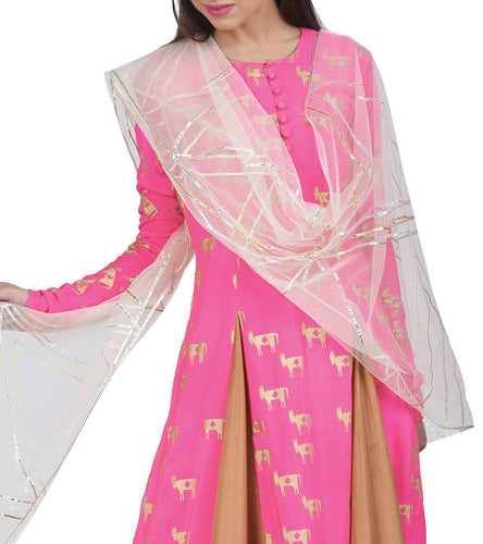 Pink Crepe Printed & Embroidered Horse Anarkali Set