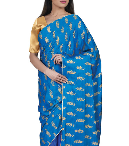 Blue Silk Printed Saree With Unstitched Blouse