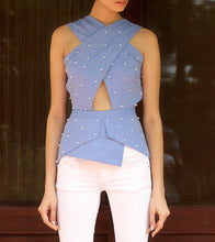 Blue Cotton & Denim Embroidered Cross Over Top