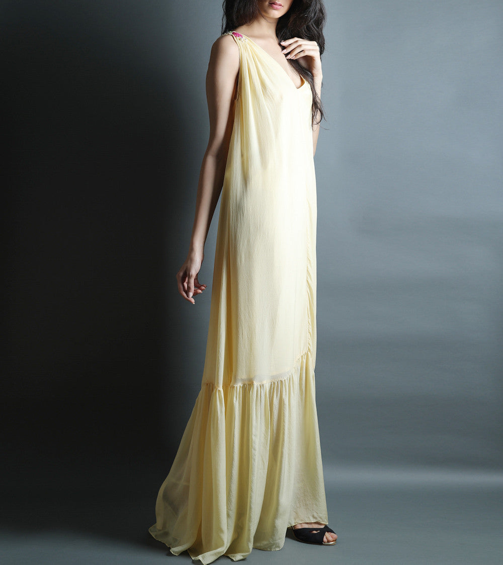 Pale Yellow Pure Flat Chiffon Embroidered Gown Dress