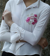 Ivory Pure Crepe Embroidered Lips Motif Shirt