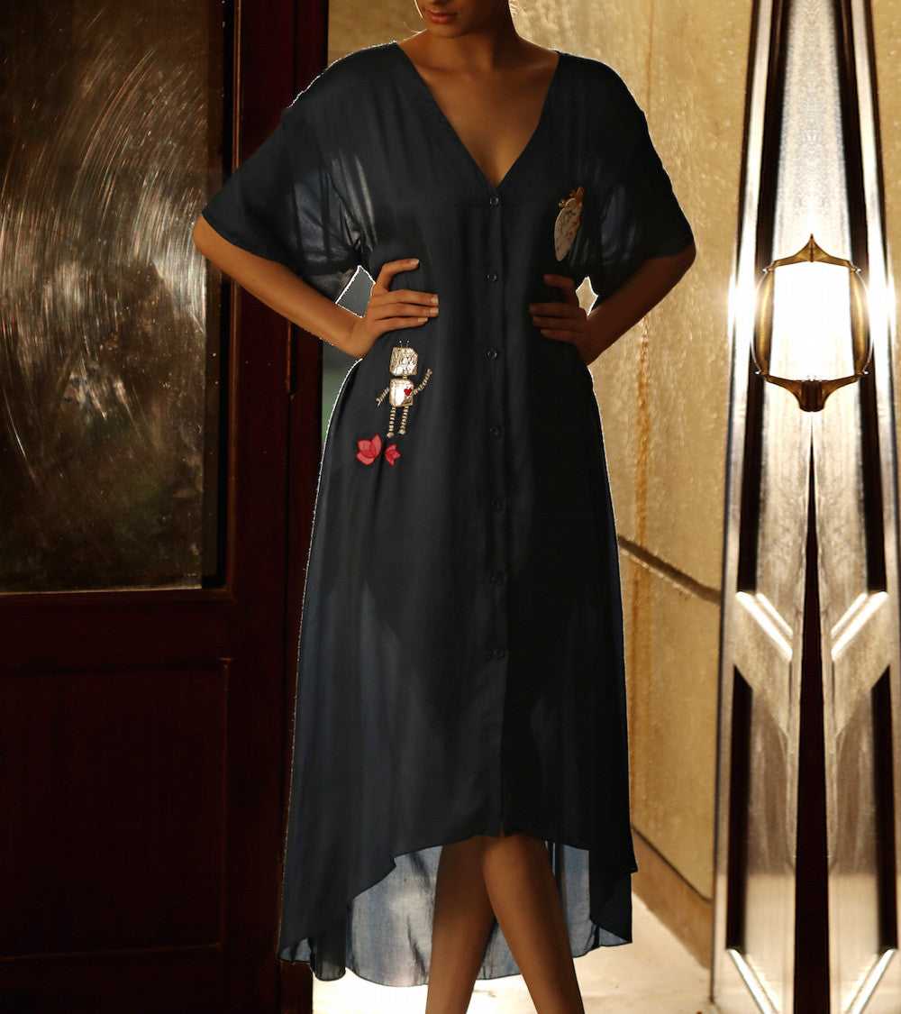 Blue Cotton & Satin Embroidered Shirt Dress