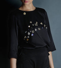 Black Satin Embroidered Top