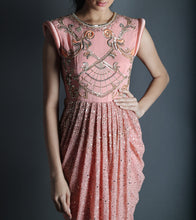 Peach Georgette Embroidered Indo Western Dress