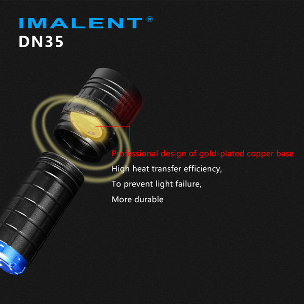 IMALENT DN35 CREE XHP35 HI LED portable 26650 spot flashlight with OLED display