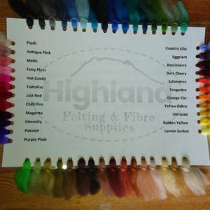 Colour Card - Highland Felting and Fibre Supplies