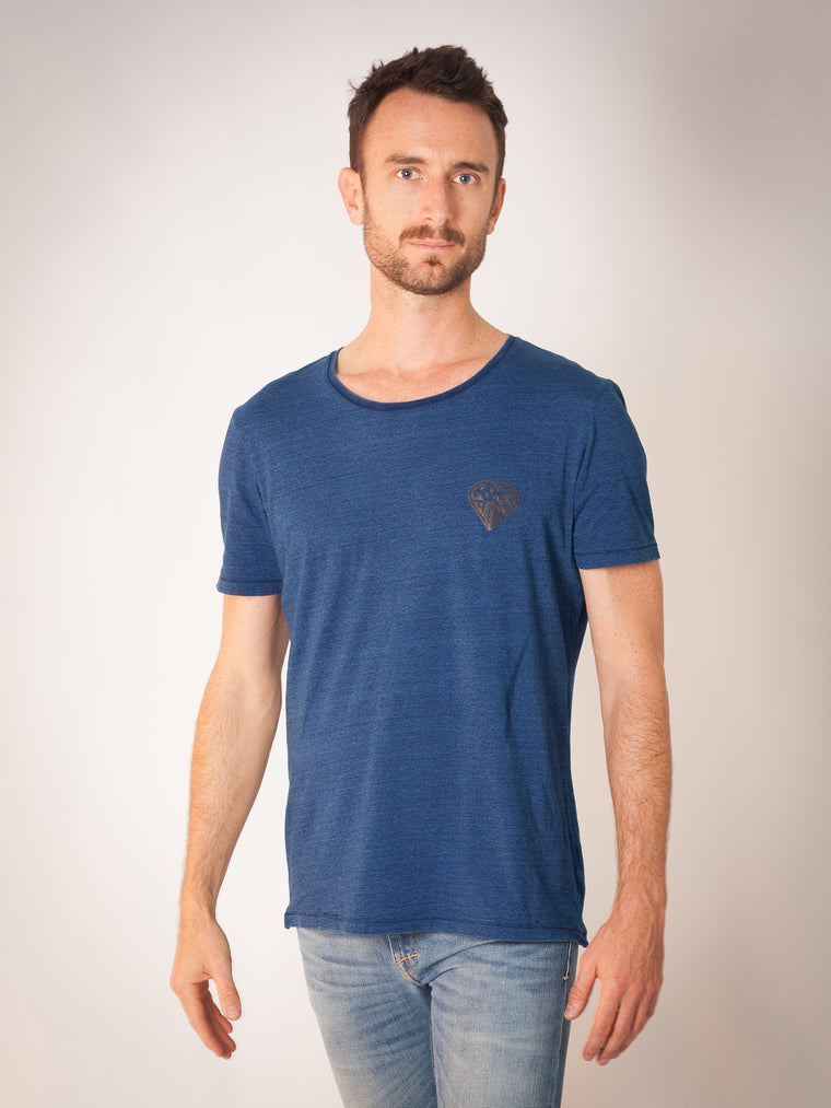 Indigo Fields T with Life Symbol pocket logo