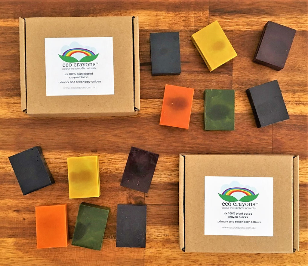 TWO BOXES OF ECO CRAYONS: 6 plant based natural crayon blocks