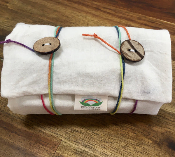 ECO CRAYONS STICK POUCH: 9 plant based natural crayon sticks in an organic cotton pouch