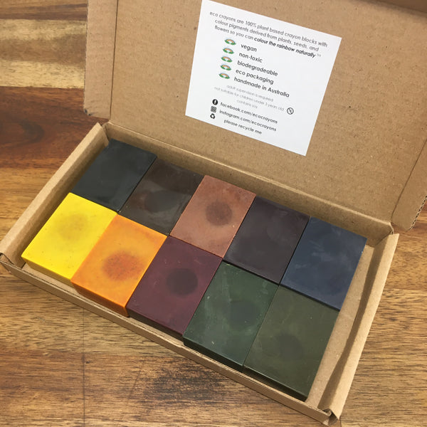 ECO CRAYONS BLOCKS - 10 COLOUR BOX: plant based natural crayons