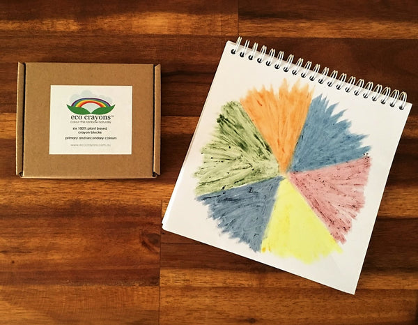 Eco Crayon Pack - Australian Made from 100% natural ingredients: waxes, butters and plant derived colour pigments making them non-toxic, vegan and biodegradable.-  colouring, crayons. drawing, early, learning, eco crayons, eco friendly, green crayons, montessori, natural crayons, nature, play, non-toxic, plant based