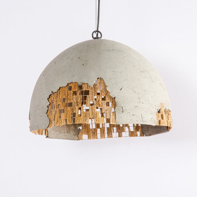 Folio Domical Pendant Lamp with Banana Fiber Mesh