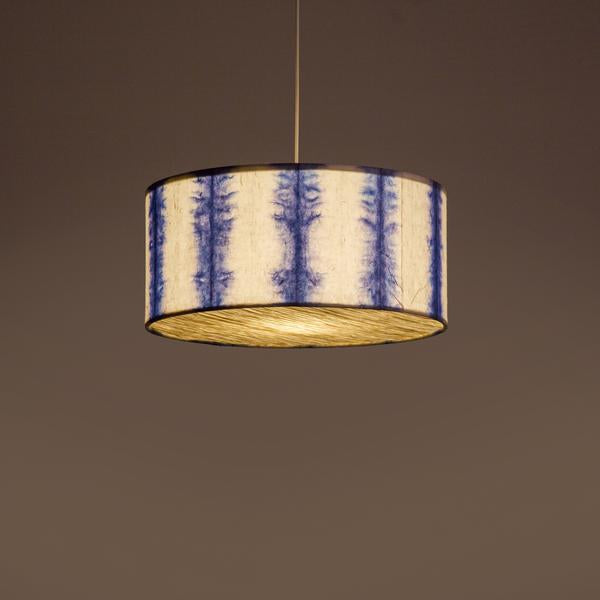 Blue Drum Shibori Linear Pendant Lamp