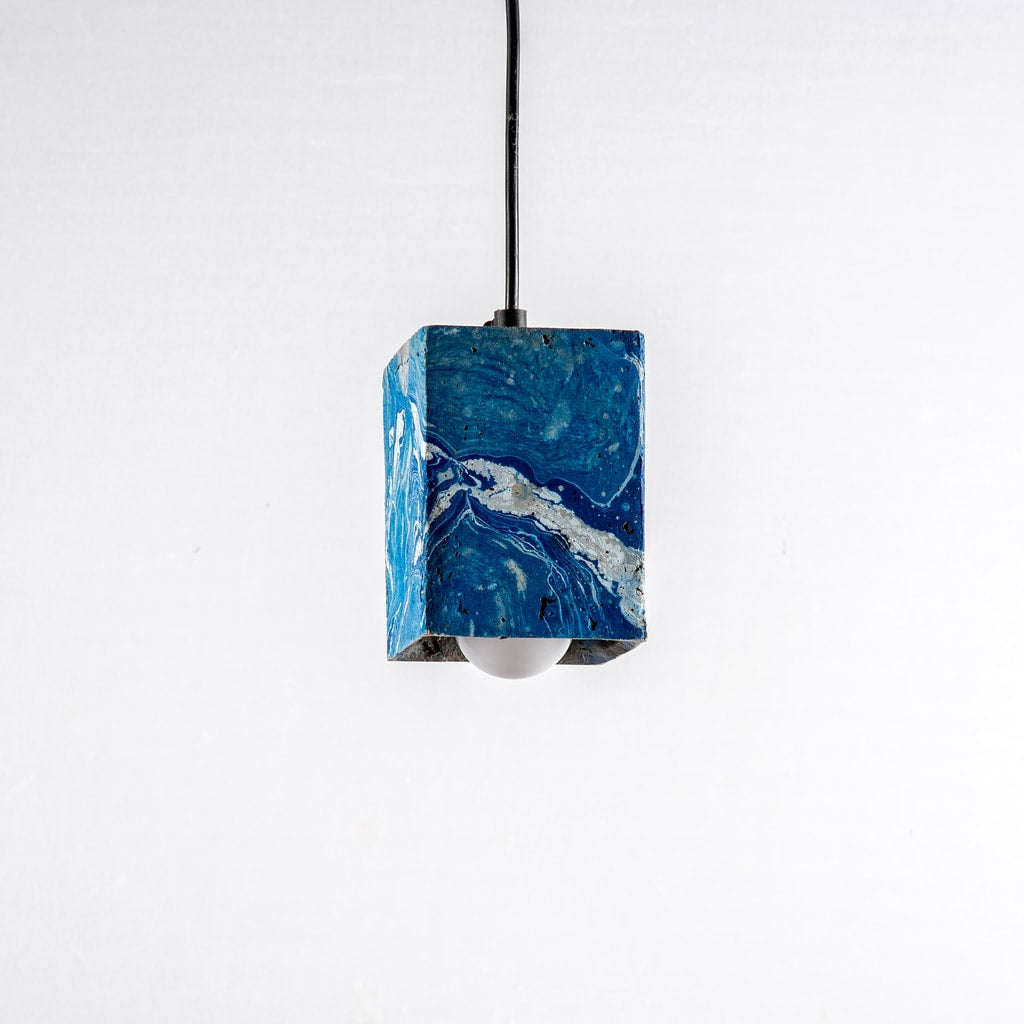 Azure Dappled Cubiture Pendant Lamp