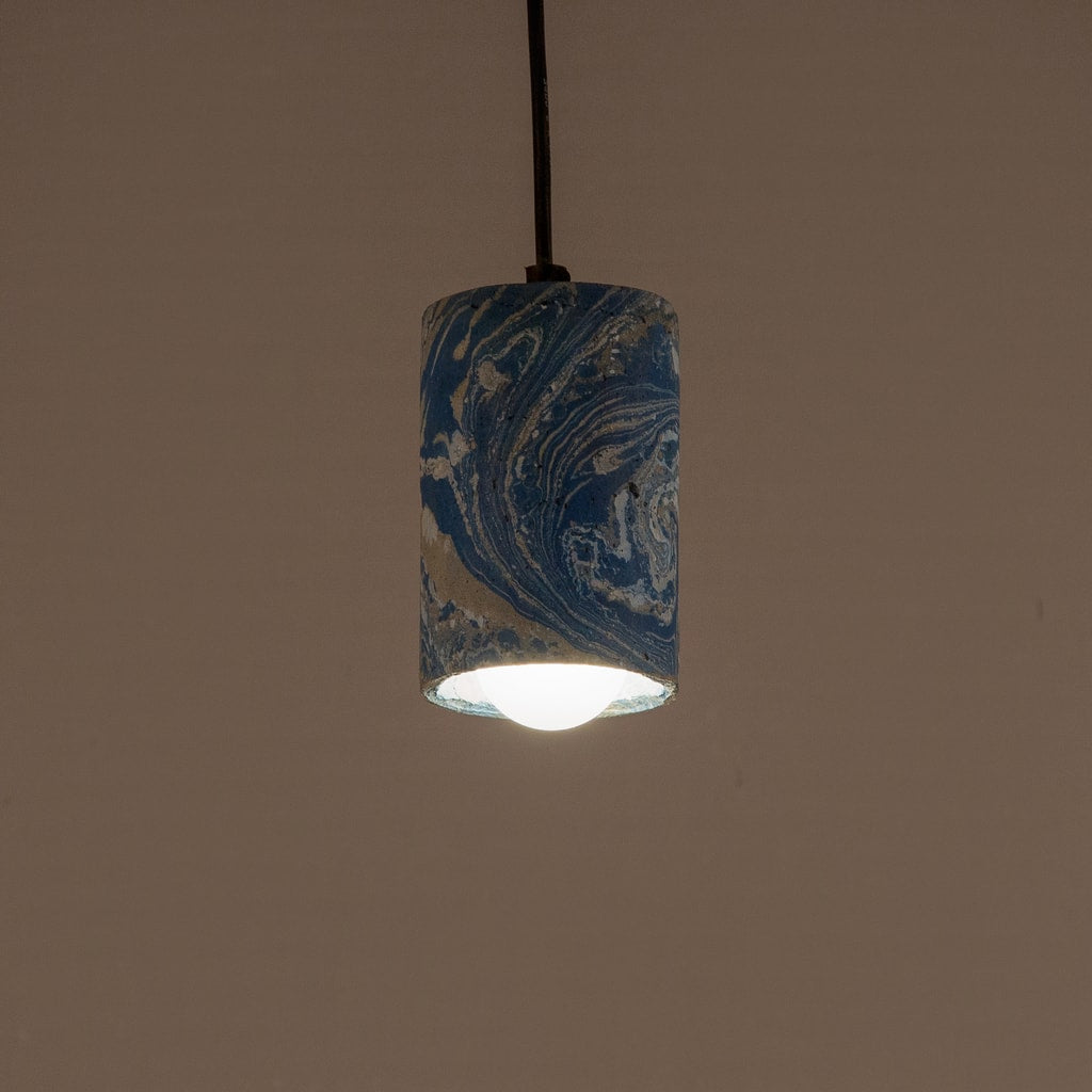 Azure Dappled Cask Pendant Lamp
