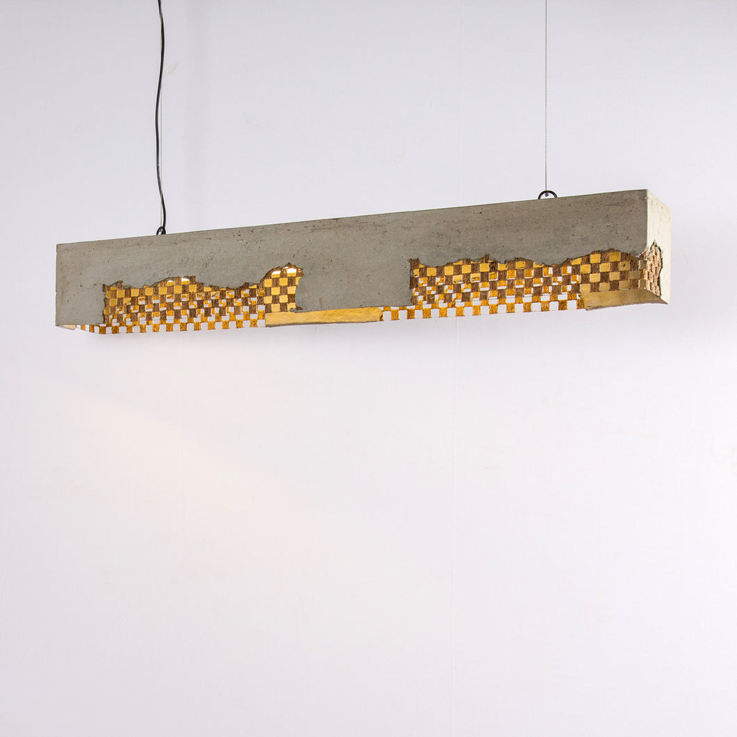 Oblong Pendant Lamp with Banana Fiber Mesh