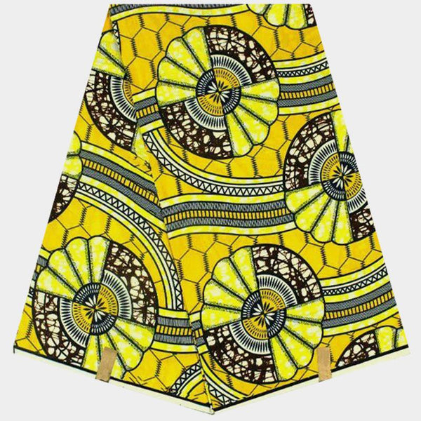African wax fabric in yellow print (5.5 m lot)