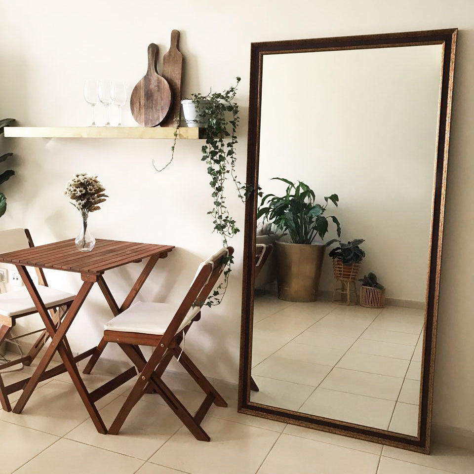 Large Brass Rust & Wood Effect Wall Mirror