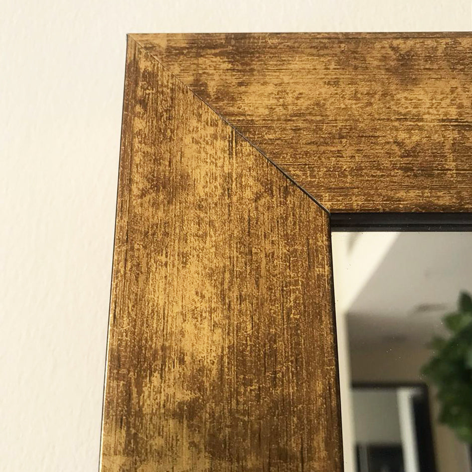 Large Gold Distressed Wall Mirror