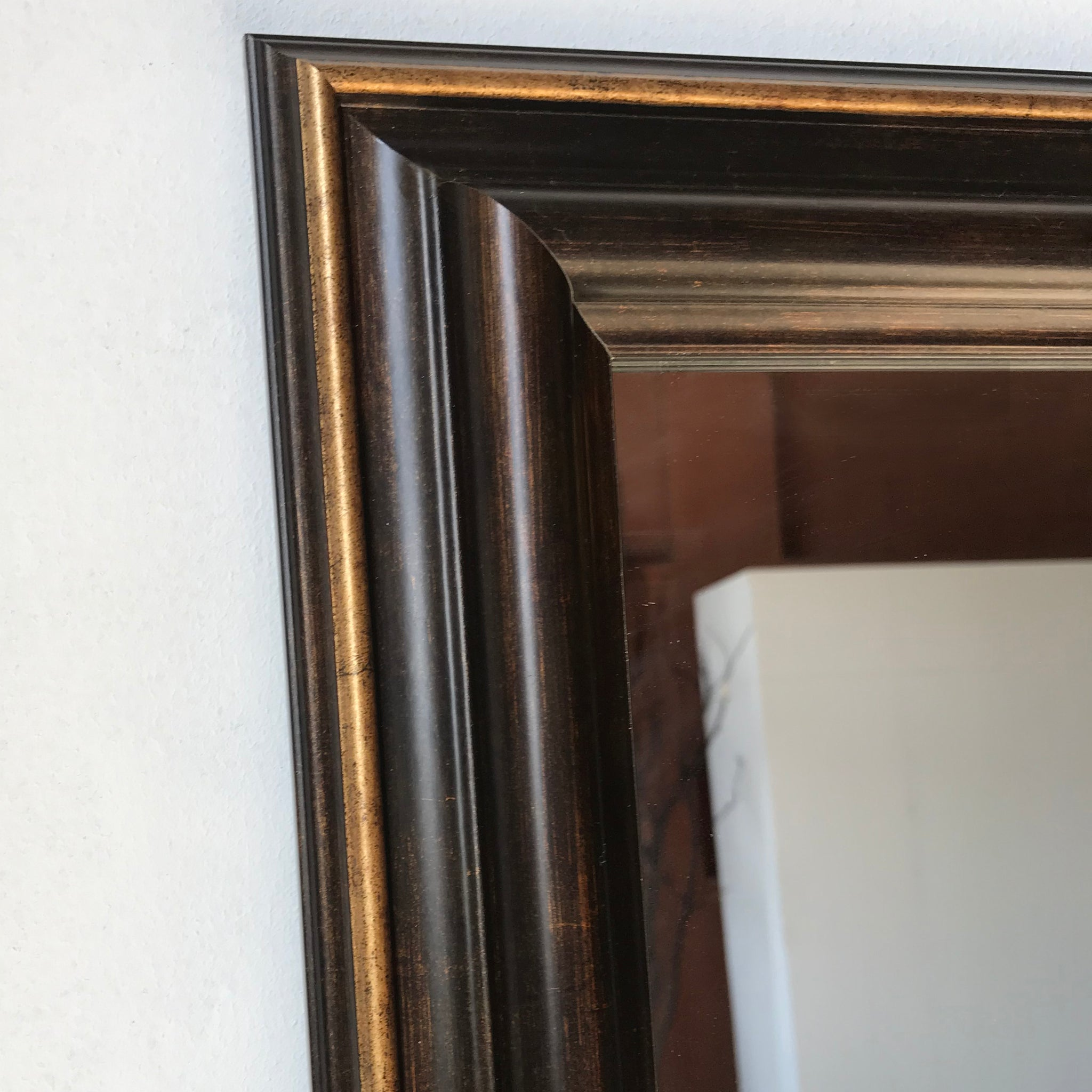 Large Brown & Brass Distressed Wall Mirror