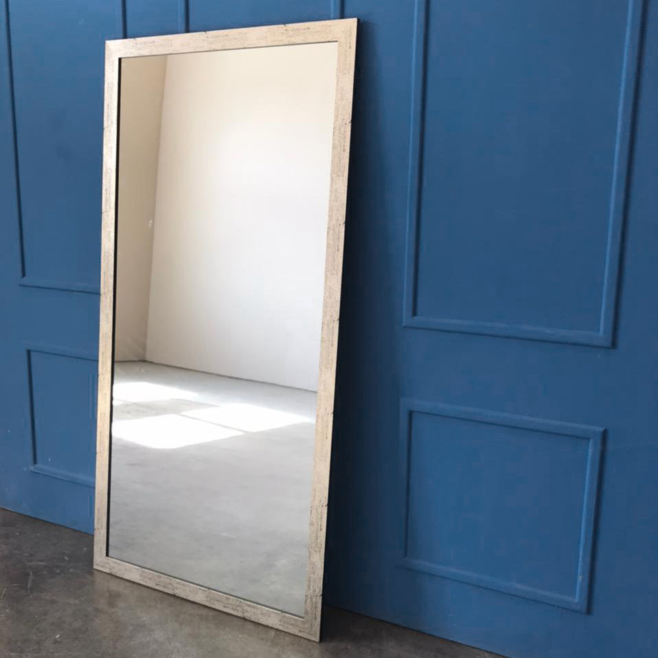 Large Silver Cracked Effect Wall Mirror