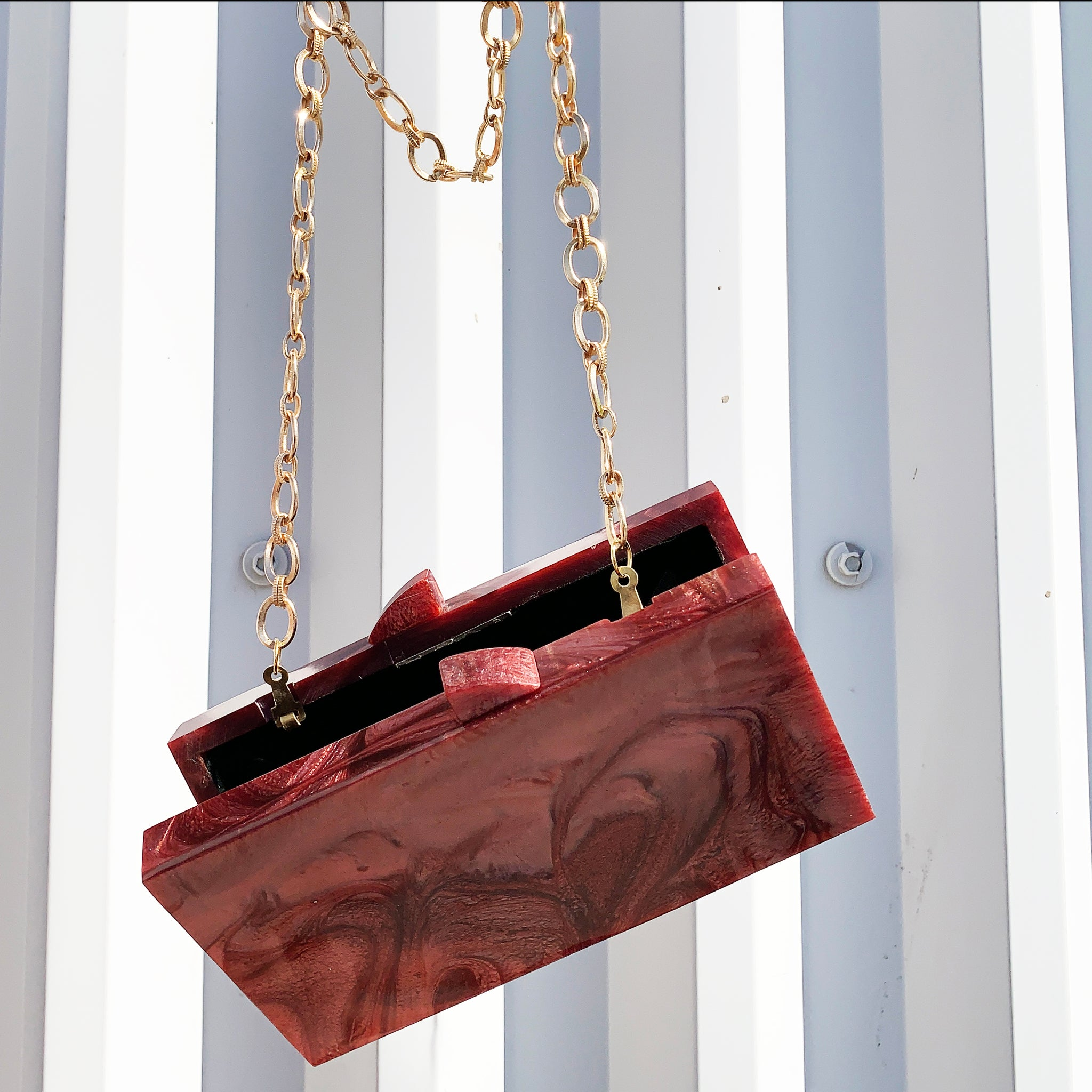 Waves Clutch In Crimson