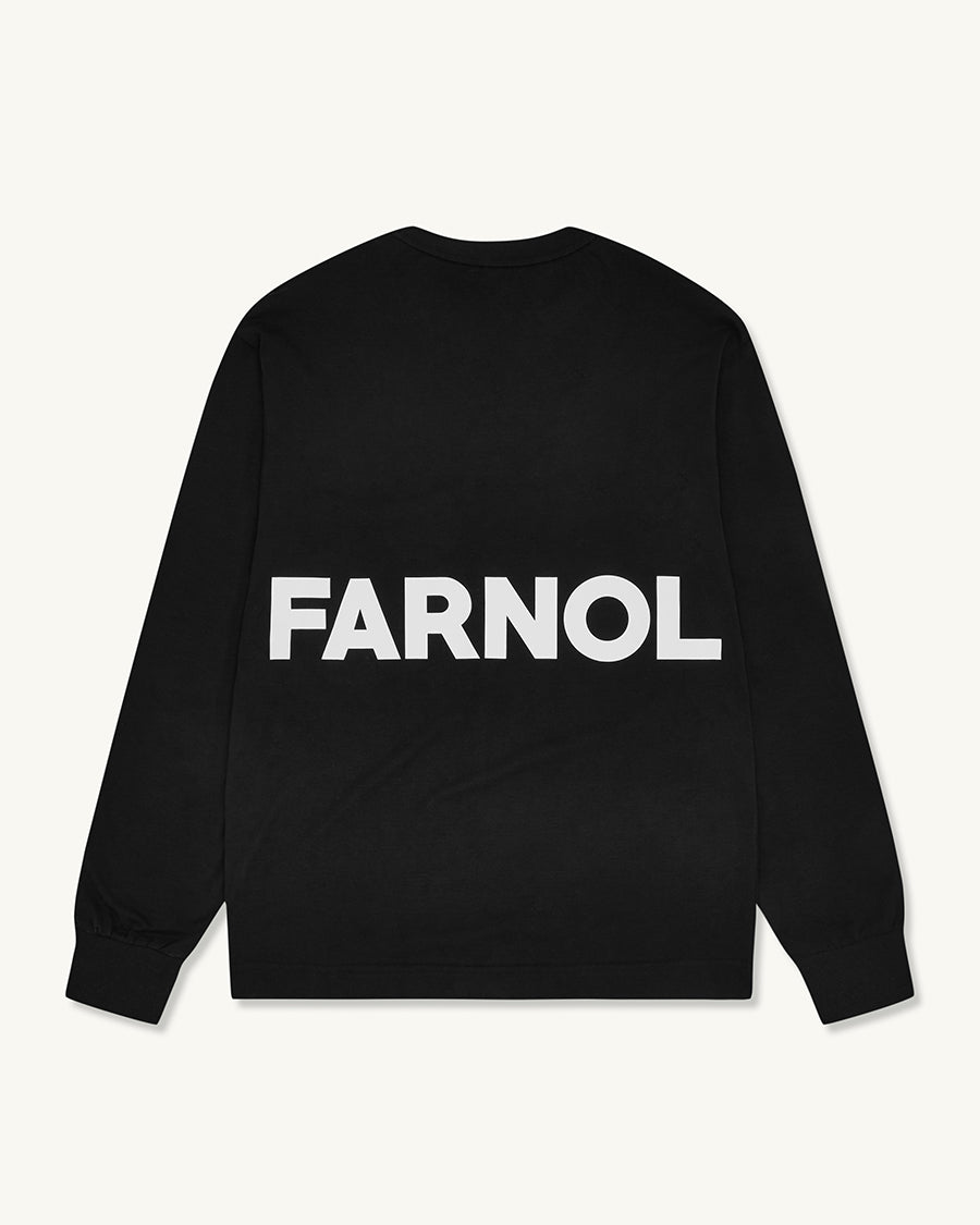 Branded Long Sleeve Pocket T-shirt | Black - Farnol