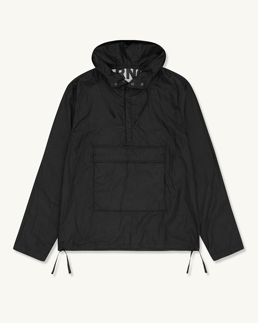 Boxy Waxed Pop Over Parka | Black - Farnol