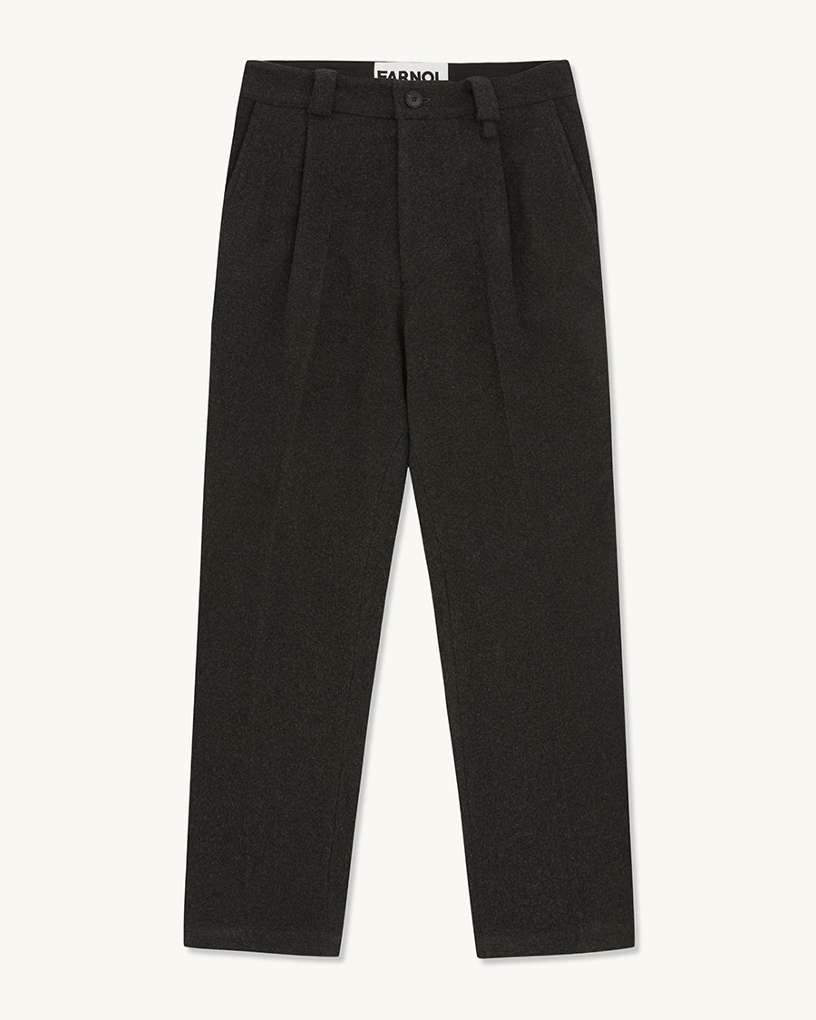 Loose Fit Flannel Trouser | Charcoal - Farnol