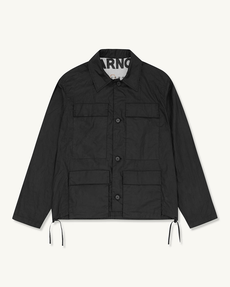 Waxed Drop Pocket Overshirt | Black - Farnol