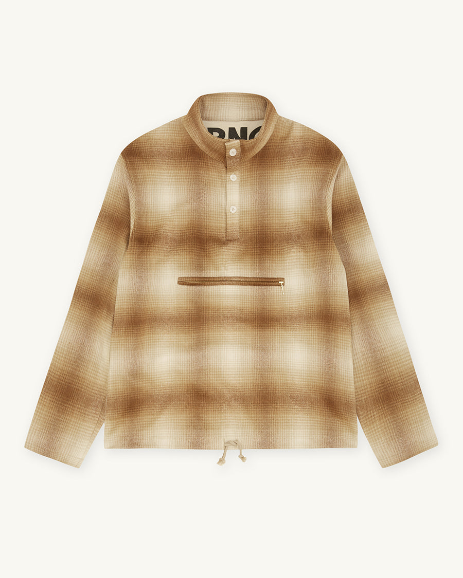 Pop Over Wool Check Shirt | Camel - Farnol