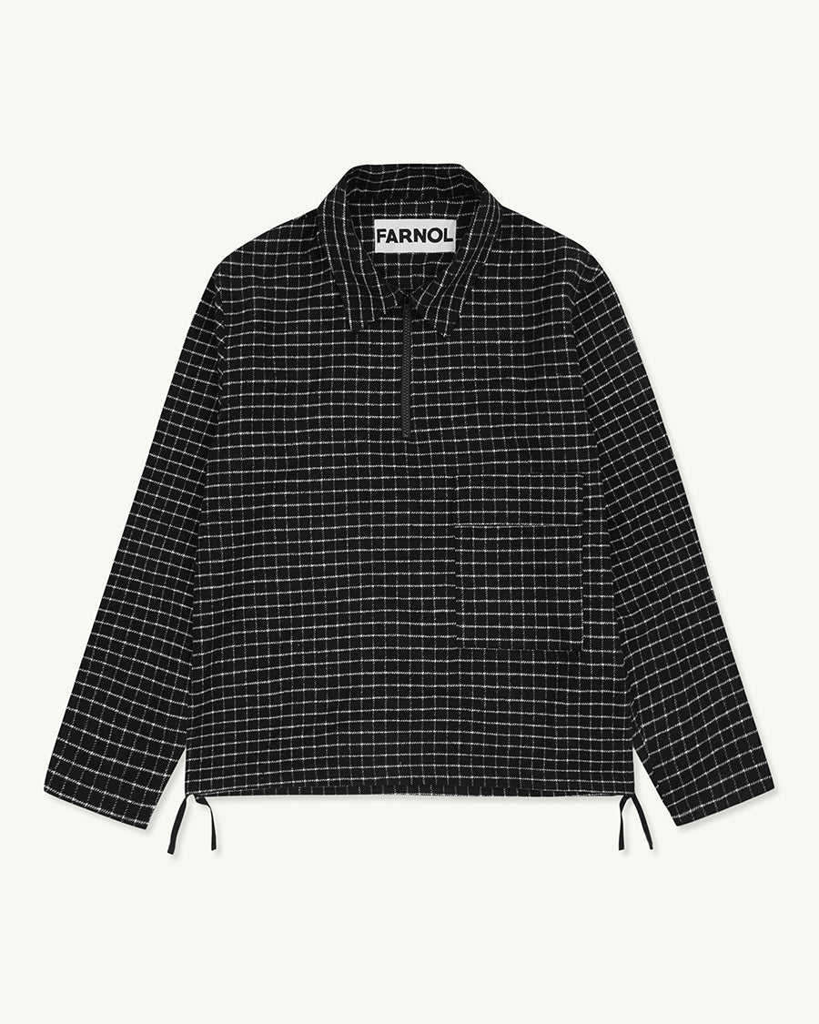 Zip Neck Grid Pop Over | Black - Farnol