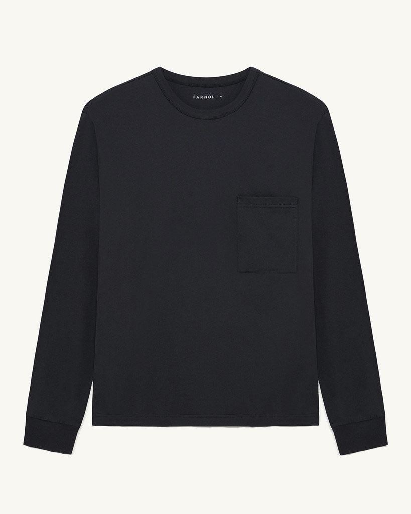 Long Sleeve Pocket T-shirt | Black - Farnol