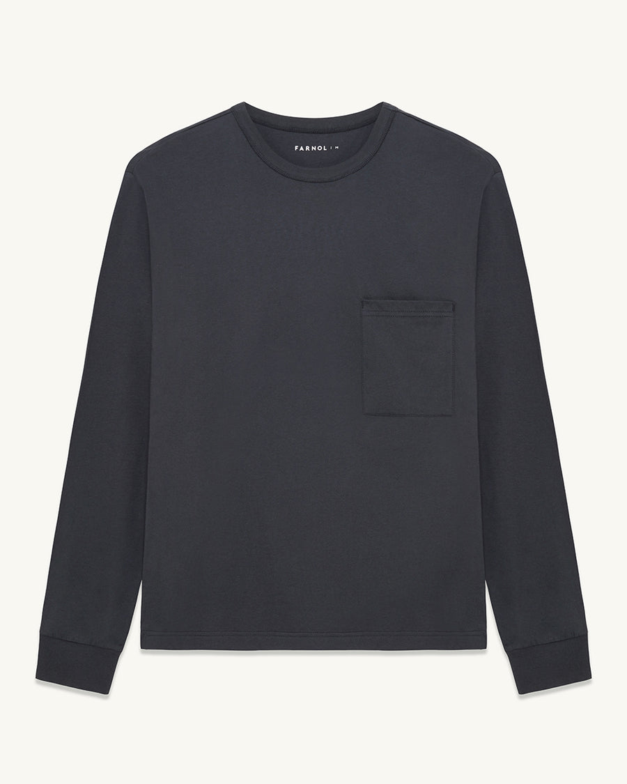 Pinner Crew Neck long sleeve T-shirt| Dark Navy