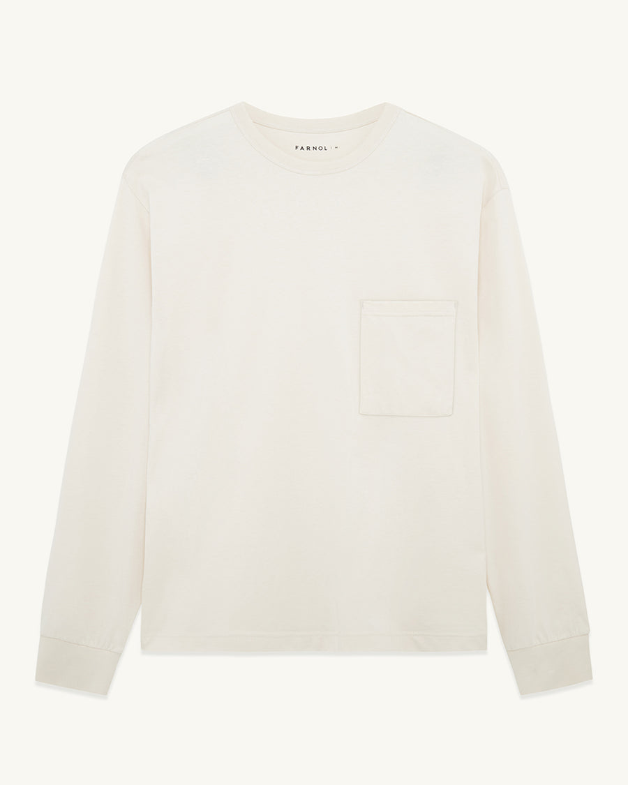 Long Sleeve Pocket T-shirt | Ivory - Farnol