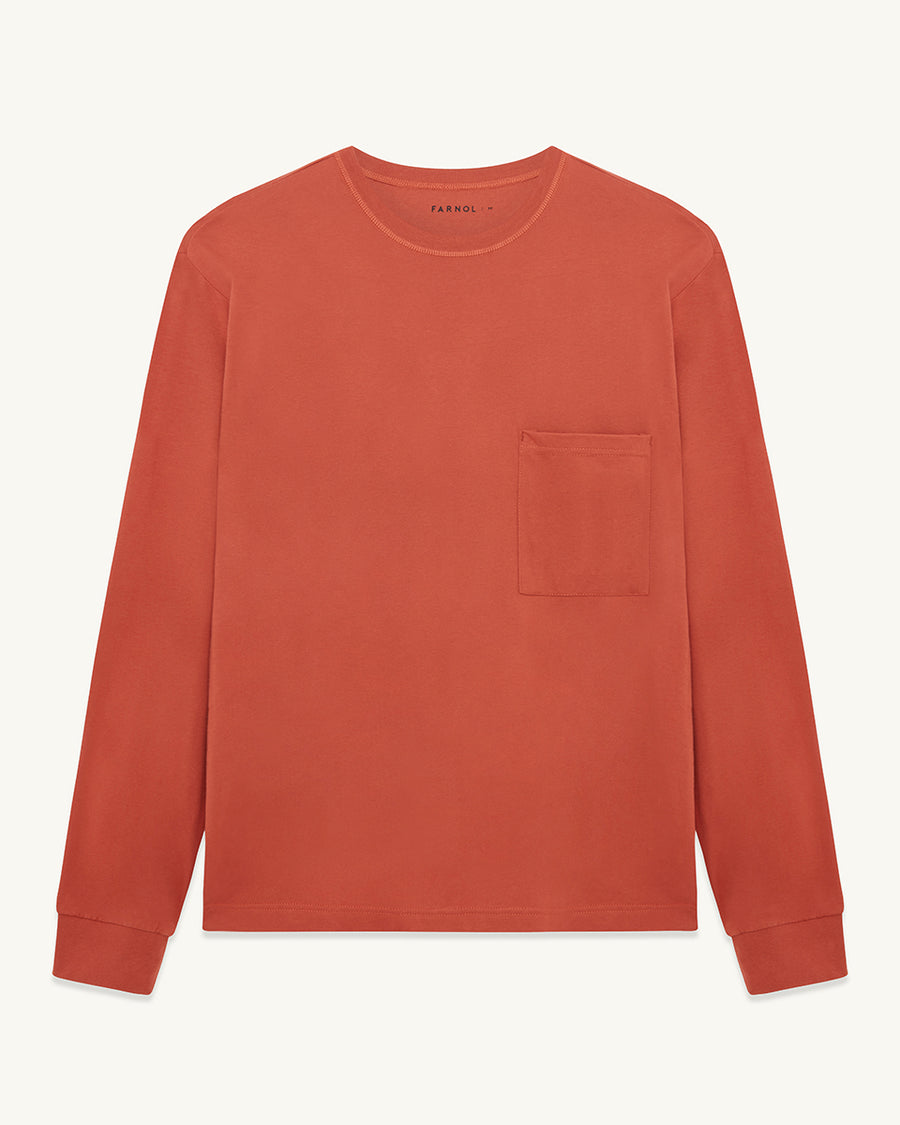 Pinner Crew Neck Long Sleeve T-shirt | Terracotta