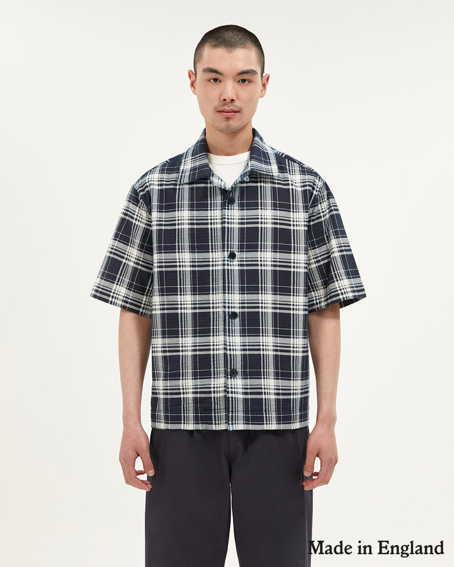 Ikat check short sleeved boxy shirt  ###  - Y/D check cotton  - Short Sleeves  - Button front  - Casual box fit  - 100% Cotton  - Made in England