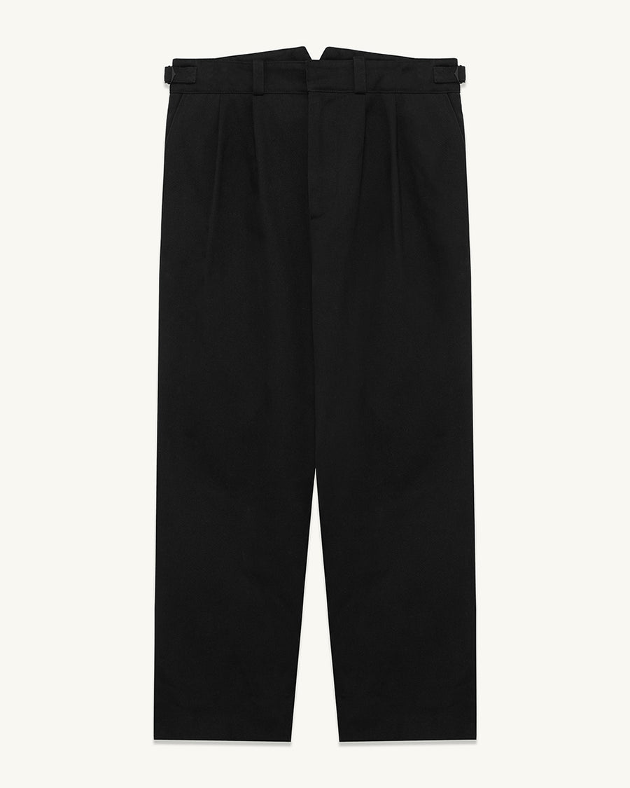 Bromley worker pant  ###  - Brushed Cotton Twill  - Loose pleated pant  - Cropped fit - Waistband adjusters  - Front and rear pockets  - Fully bound internal finish  - 100% Cotton