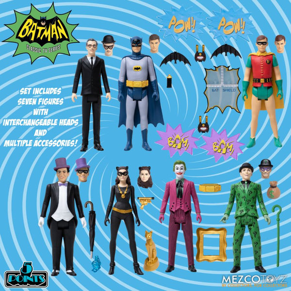 Mezco - Batman [1966] 5 Points Deluxe Boxed Set