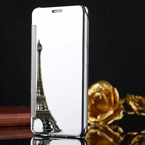 Luxury Metallic Leather Case For Iphone 5 5S SE 6 6S 7 8 Plus X Phone Back Covers Hard PC Flip Stand Mirror Phone Cases