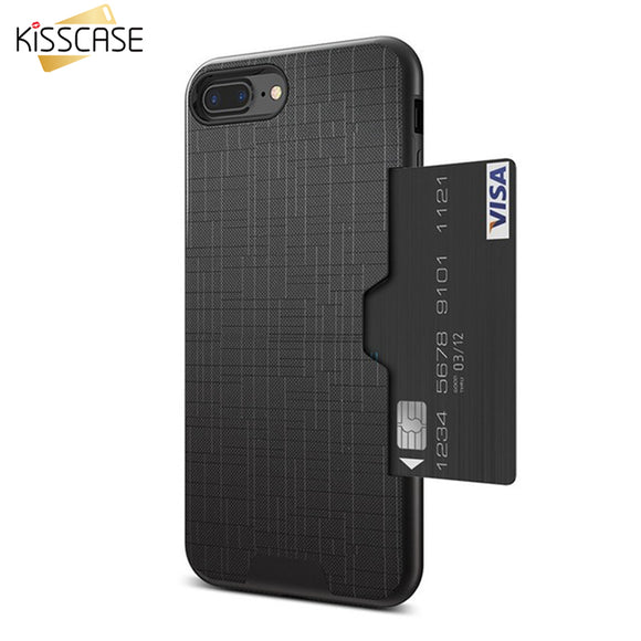 Phone Case For iPhone 6 7 6s 8 Fashion Cross Case for iPhone 7 6 6s 8 Plus Accessories 2 in 1 Card Slot Armor Cover