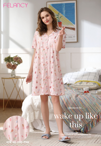 Pyjamas Dress with sweet pineapple Print