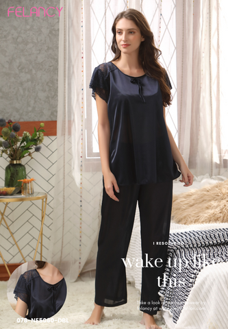 Lace trim nylon classic nightwear