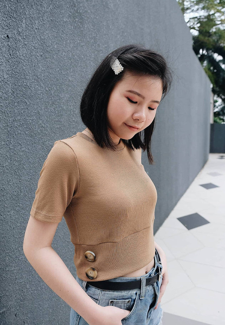 [FREE]Casual – Button Knit Crop Top in Khaki