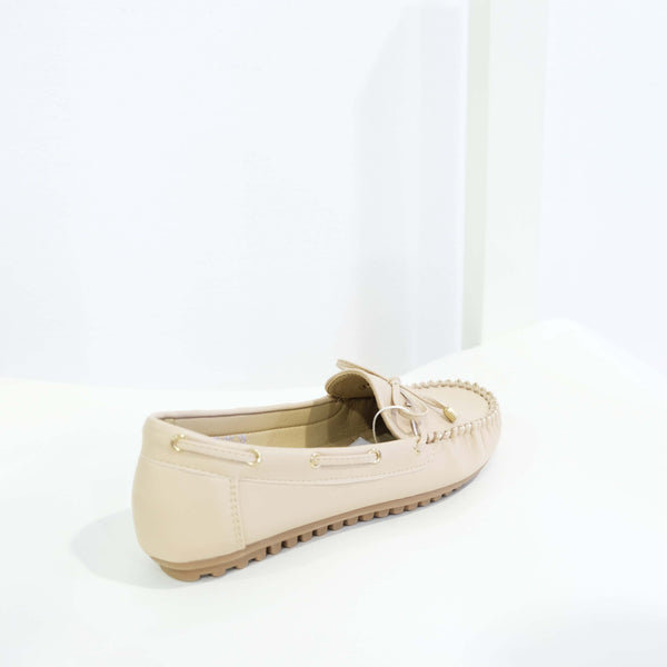 Ribbon Leather Flat in Apricot